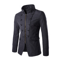 Wholesale Trench Coats Male Long Black - Wholesale- Mens Black Trench Coats Long Sleeve Solid Button Zippered Royal Style Male Outerwear Design Slim Short Wool & Blends F63 Jacket