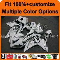 Wholesale R1 Cowl - 23colors+8Gifts Injection mold WHITE motorcycle cowl for Yamaha YZF-R1 2007-2008 07 08 YZFR1 2007 2008 07-08 ABS Plastic Fairing