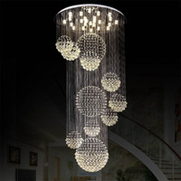 crystal hotel lobby luz de candelabro venda por atacado-Candelabro moderno cristal grande luminária para Lobby Staircase Escadas Foyer longa espiral Lustre Teto lâmpada embutida Stair Luz