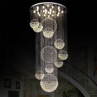 candelabros de cristal de techo rasante al por mayor-Lámpara moderna lámpara de cristal grande para el vestíbulo Escaleras Escalera Foyer Largo Espiral Lustre Lámpara de techo Escalera montada al ras Luz