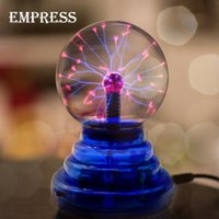 Wholesale Electric Spheres - Wholesale- NEW 3 4 5 6 inch Crystal Plasma Ball Magic Lon Sphere Light Electric Lightning ball Novelty Table Lamp Party Decor Box Lightning