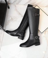 Wholesale Slim Boots For Women - 2017 new winter boots Flat Boot slim Belt Buckle Leather Biker boots boots for Europe free shipping