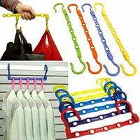 Wholesale Wholesale Pants Hangers Plastic - Useful 5-Hole Space Saver Wonder Magic Hanger Hook Closet Organizer Wholesale