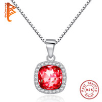 Wholesale Accessories Wine Box - BELAWANG Hot Sale Women Sterling Silver Square Crystal Pendant Neckalce Wine Red Stone Box Chain Necklace Authentic 925 Jewelry Accessories