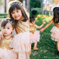 Wholesale Sparkle Baby Dress - Cute Sparkling Flower Girl Dresses Gold Sequined Bow Cheap Baby Wedding Party Dress Little Girls Knee Length Sleeveless Short Pageant Gowns