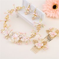 Wholesale Flower Hairstyles - Chic Handmade Pink Ceramic Flowers Pearls Bridal Headband Earrings Sets Gold Hairstyles For Bride Bohemian Hairpieces Sets H87