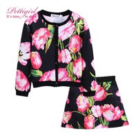 Wholesale Girls Over Coat - Pettigirl New Arrival Girls Clothing Set With Flower Printing Over Coat Long Sleeve With Skirts For Chlidren Clothing G-DMCS908-968