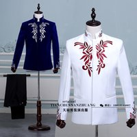 Wholesale Chinese National Costume Men - Wholesale- (jakcet+pant)Chinese dress embroidered costume suit collar Nakayama Kio presided over the national costume stage emcee singer