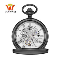 Wholesale Hand Clock Retro - NEW OYW Special Skeleton Design Male Clock Mechanical Hand Wind Watch Men Retro Vintage Pendant Pocket Watch Gift Hombre Relogio