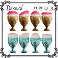 Wholesale Fish Surfaces - Daxinqi 4pcs Gold Or Blue Mermaid Makeup Brush With Fish Scale Surface Powder Blush Powder Foundation Brush Popular In 2017