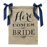 kostenlose hochzeit banner großhandel-Wholesale-Free Verschiffen 1 X handgemachte Braut, zum Girlanden-Leinwand-Hochzeits-Fahnen-Brautparty-Partei-Dekoration zu bunting