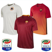 Wholesale Home Casual - 2016 2017 Top Thai Quality ROMA Soccer Jerseys TOTTI DE ROSSI DZEKO EL SHAARAWY Camiseta de futbol 1617 Home Away Third Roma Football Shirts