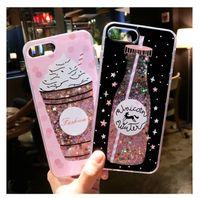 Wholesale ice cream case for iphone - Luxury Bliing Liquid Glitter Quicksand Hard Case Cover Perfume Bottle flamingos Cat Ice Cream Pineapple Shell for iPhone 8 7 6s 6 Plus
