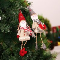 Wholesale Cheap Boy Dolls - Europe Style Christmas Decoration on Tree Lovely Boys Girls Christmas Doll Elf Christmas Decorations for Home Outdoor Cheap 2pcs lot