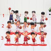 Wholesale Slam Dunk Anime - 8cm 5pcs set Slam Dunk action Figures Japanese Anime Figure Basketball Toys Sakuragi Hanamichi Pvc Cartoon Figure Kid Gift