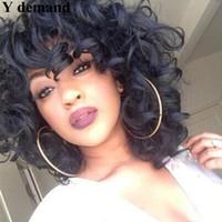 wellige kurze perücke großhandel-Mode Afro Cosplay Perücke Tiefe Welle Kurze BOB Schwarz / Braun Synthetische Perücken Wellenförmige Lockige Natürliche Haar Perucas für Schwarze Frauen