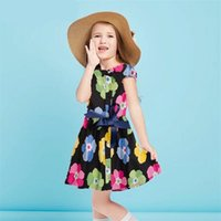 bow robes fille courte achat en gros de-Cute Baby Girls Clothes 2017 Summer Children Dresses Coton Mode Casual Bow Manches courtes Floral Dress Kids Clothing 2-7Y