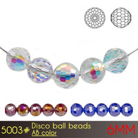 China Factory Cheap Crystal Glass Stone Great Disco Ball Beads 6mm AB cores A5003 100pcs / set