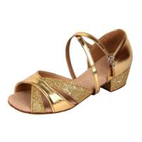 Wholesale Glitter Latin Dance Shoes - Girls Soft-soled Glittering Latin Ballroom Dance Shoes with Leather Strap PU Leather Cutout Tango Dance Shoes