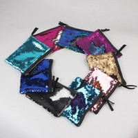 Wholesale Evening Clutch Bags Wholesale - Mermaid Sequin Clutch Bag 19*15cm Women Reversible Sequins Glitter Handbag Evening Clutch Bag Wallet Purse Cosmetic Storage Bag OOA2197