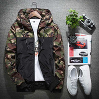 Wholesale Camouflage Outwear - Wholesale- 2017 Fashion Mens Camouflage Jacket Brand Spring Casual Thin Male Camo Outwear Coat Hooded Jacket chaquetas mujer 040506