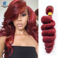 400g Sunset Red Remy Hair Bundles Silky Straight Body Wave Deep Cheveux bouclés Extensions Qualité Coloré Brésilien Cheveux Humains Weave
