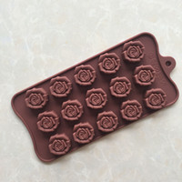Wholesale Silicone Rose Mold 15 - 15 with three-dimensional rose chocolate mold silicone handmade cold soap soap mold jelly mousse mold ice lattice
