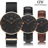 Wholesale Military Green Dresses - luxury brand black face watches mens watch rose gold nylon leather quartz watch mens Women Dress Watch relojes Military clock 40 36mm