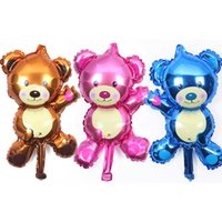 Wholesale Wholesale Teddy Bear Decorations - GOGO PAITY shipping new mini Bear Teddy Bear foil balloon aluminum balloons birthday party decoration balloon wholesale baby Drop Shipping
