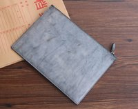 Wholesale Envelope Supply Bags - Supply high quality special handmade changable environmental protection vegetable tanned first class genuine leather envelope bag wallet