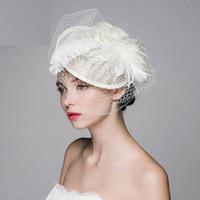 şapka gelin büyüleyici toptan satış-Krem Fildişi Düğün Gelin Şapka Peçe Düğün Birdcage Peçe Broş Gelin Saç Başlığı Fascinator Düğün Gelin Aksesuarları
