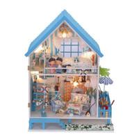Wholesale Mini Model Furniture - Super Big size Handmade Wooden House Toys children's Christmas birthday gift kids DIY Mini Furniture villa Model with LED lights Dollhouse