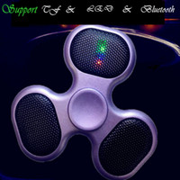 Wholesale Sd Card Player For Tv - Newest LED Fidget Spinners Bluetooth Music Hand Spinner MP3 Player Spinner Support Micro SD TF Card For ADD, ADHD Finger Toys