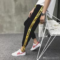 Wholesale Drawstring Sweat Pants - New Off White Cotton Trousers Popular Brand Men's Casual Sweat Pants Virgirl Abolh Black Pants Free Shipping