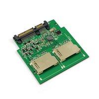 Wholesale Ide Sdhc Adapter - 50pcs   lots Dual SD SDHC MMC Memory Card to 7+15 Pin 22pin SATA Male Convertor Kit RAID0 Adapter