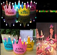 ingrosso decorazioni della corona della principessa-Festa di compleanno re Princess Crown LED Light Hat Felice Anno Nuovo Crown Hat Party Decoration Party Cap For Child