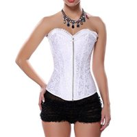 Wholesale Bridal Corset Steel - Zip Steel Boned White Bridal Corset Lingerie Sexy Wedding Corsets And Bustiers Gothique Corpetes E Espartilhos Korsett For Women