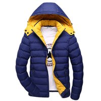 Wholesale Wholesale Polyester Hooded Jacket - Wholesale- 2017 New Stylish Hood Winter Jacket Coat Men Solid Color Warm Hooded Parka Men (Asian Size)