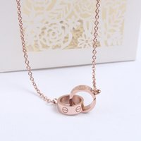 Titanium Steel Screws Diamond Double Ring Pendant Necklace Mulheres Rose Gold Wild Necklace