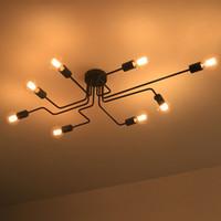 luces de techo montadas al ras led al por mayor-Personalidad lámpara de techo iluminación de la cocina led luces de techo de montaje empotrado luces de techo de cristal de hierro largo led, personalización de la lámpara