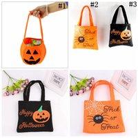 Wholesale Smile Handbags - Halloween Pumpkin Candy Bag Trick Treat Non-woven Basket Tote Bag Cute Smile Face Handbag Halloween Decorations OOA2730