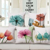 Wholesale Blue Couches - Elegant Flower Tulip Cushions Covers Colour Purple Blue Pink Flowers Leaves Cushion Cover Car Sofa Couch Decorative Linen Beige Pillow Case