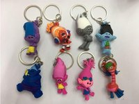 Wholesale Wholesale Kids Collectables - Trolls Poppy keychain The Good Luck Trolls action figures PVC Collectable Model Toys for Kids Christmas Gift free shipping L001
