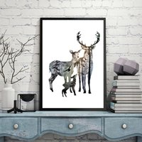 Silhouette of Deer Canvas Poster Painting for Living Room Modern Wall Pictures Opere d'arte Cerf Decoration Home Alce Stampe Foto Senza cornice