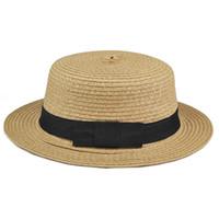 Wholesale Womens Straw Floppy Hat - Wholesale- 2017 Hot Style Sweet Womens Ladies Summer Beach Sun Visor Bowknot Floppy Foldable Straw Hat