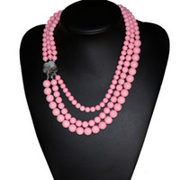 Wholesale Coral Beads Necklace Rows - Original design fashion pink artificial coral round beads necklace shell clasp necklace women 3 rows jewelry 17-19inch B2917
