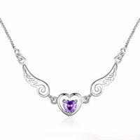Wholesale Amethyst Wings - New arrival necklaces women heart Fashion Silver Wings Love Necklace Natural Amethyst Crystal necklace free shipping