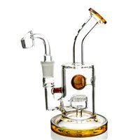 Wholesale Mini Glass Balls - Amber Jet Percolator Glass Bong With Hollow Ball Two Function Mini Dab Rigs Wonderful Spray Water Pipe DGC1316