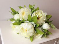 Beautiful peony flower home decoration Hand Made Artificial Peony Bunch Flowers Bridal Accessories Garden Bulk Runners 7 flower peony heads
