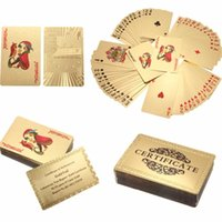 Wholesale Gold Items 24k - Leisure Puzzle 24K Gold Foil Plated Playing Cards Poker Table Games Gifts Items $100 Dollar Euro Grid Style Gadgets